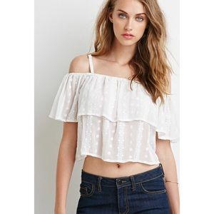 Tops - 🍦Sexy sheer off the shoulder embroidered crop top